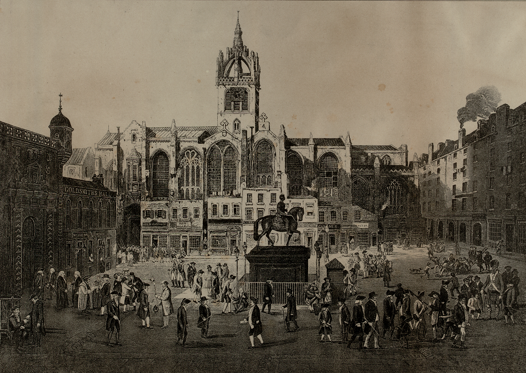Engraving of Parliament Square, Edinburgh from 1844