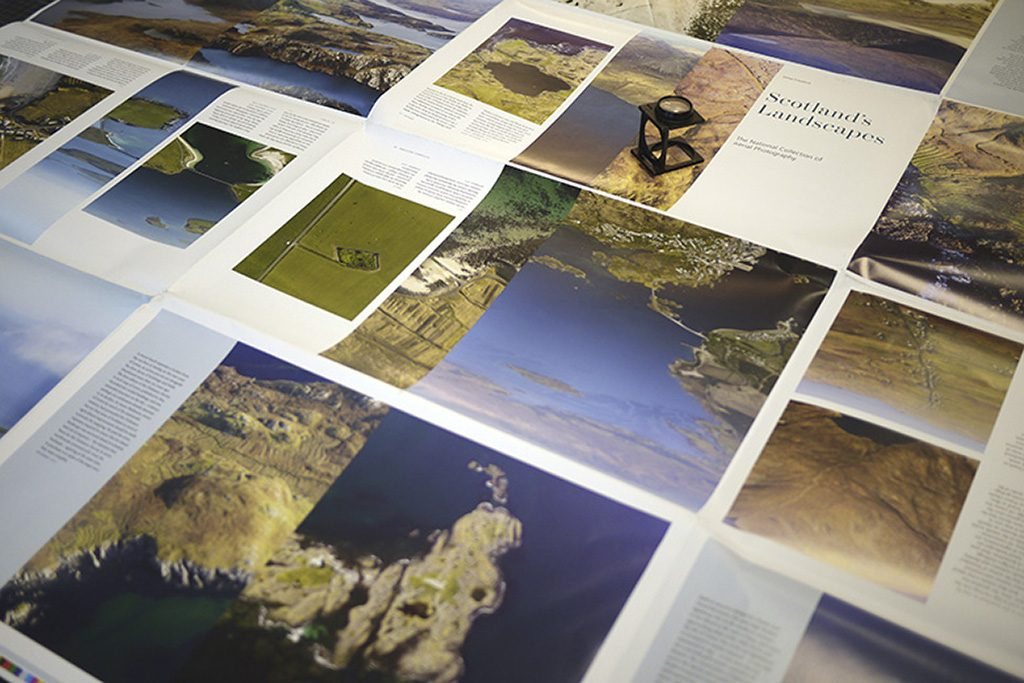 Pages from 'Scotland's Landscapes' being prepared for publication