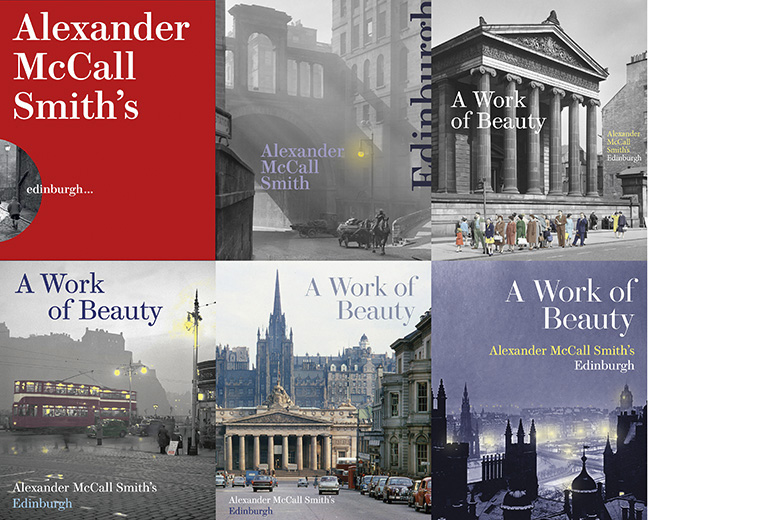 A selection of different book covers for Alexander McCall Smith's A Work of Beauty