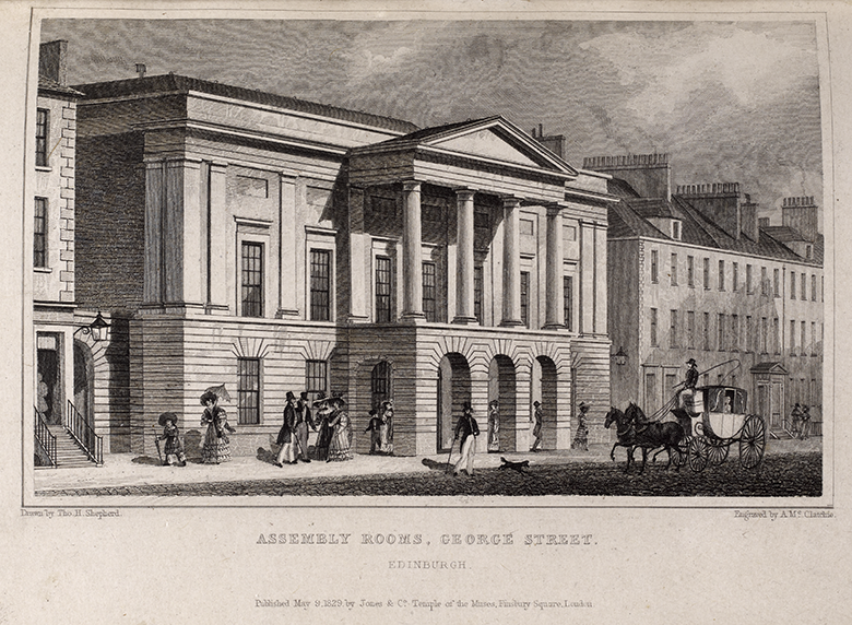 View of the Assembly Rooms from the early 19thC. A horse and carriage is driving past.