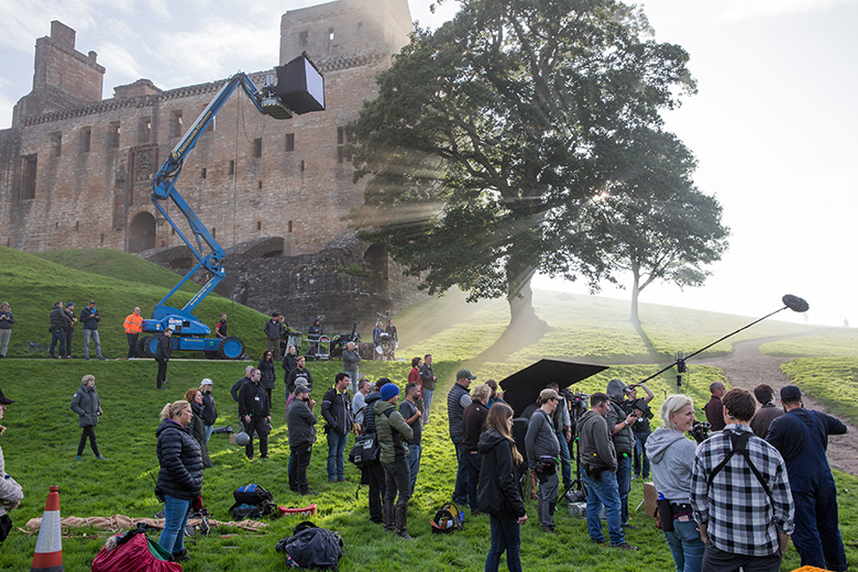 A film crew at work outside Linlithgow Palace