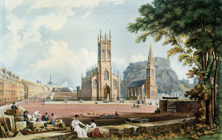Postcard showing view of St Cuthbert's Church and St John's Episcopal Church from west end of Princes Street with Calton Hill and Edinburgh Castle in distance.