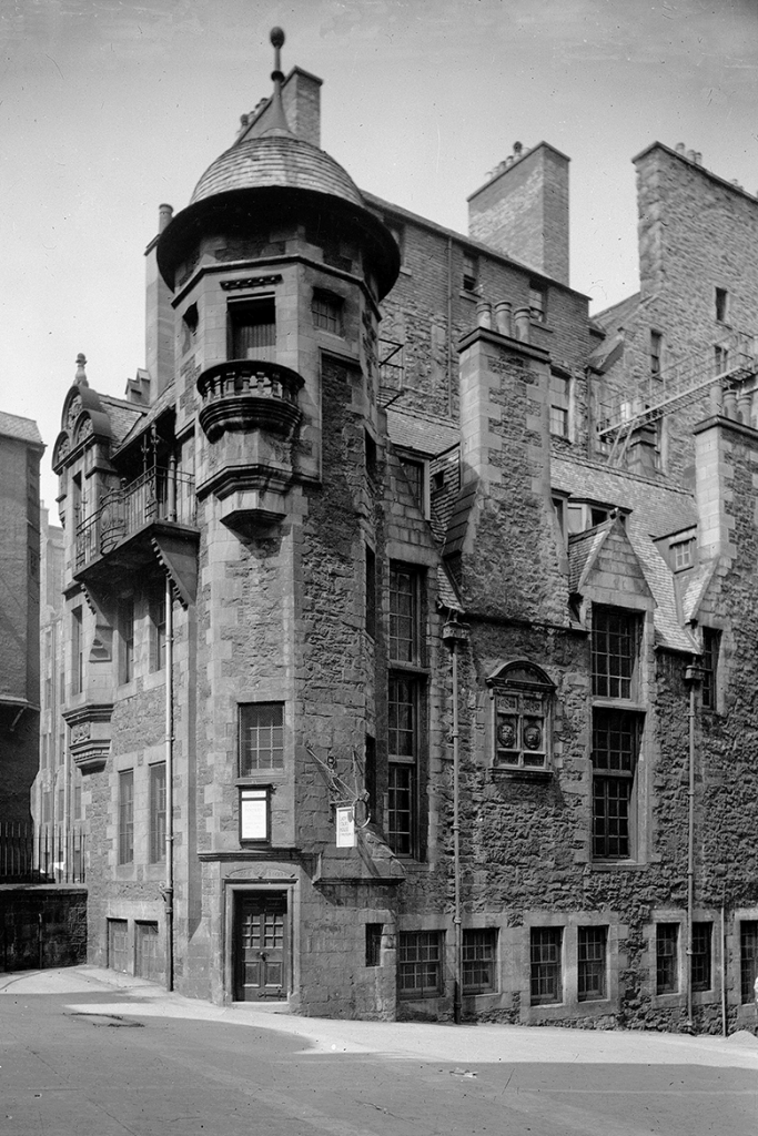 View of a house in Edinburgh's old town with a hexagonal stair tower