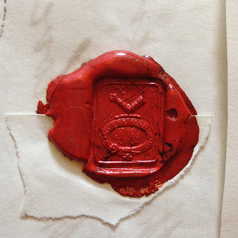 A letter seal made from red wax