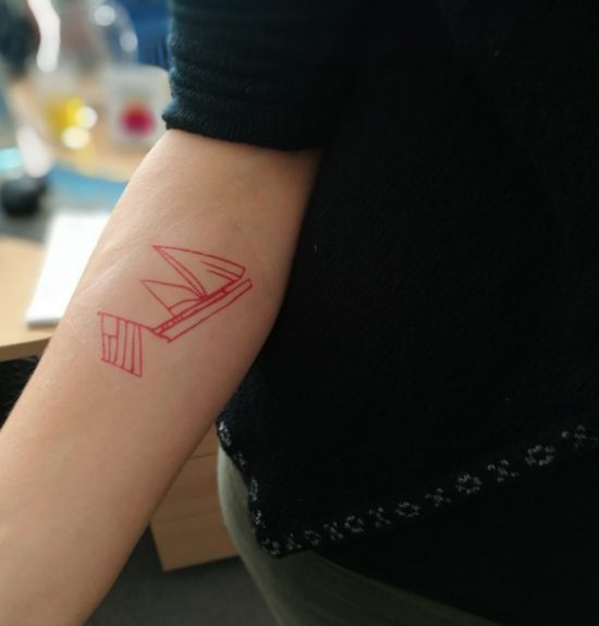 A temporary tattoo based on graffiti by prisoners of war held at Edinburgh Castle