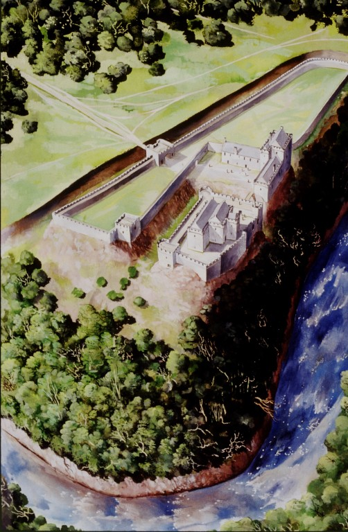 Artist's bird's-eye view of Cadzow Castle