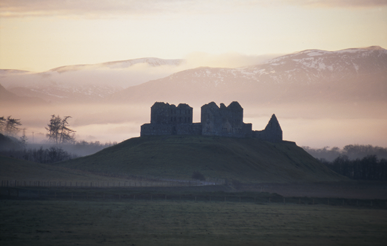 View of Ruthven Barracks at twilight, silhouetted against a silver sky