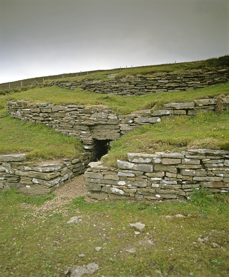 View of a layered mound structure with an entrance passage