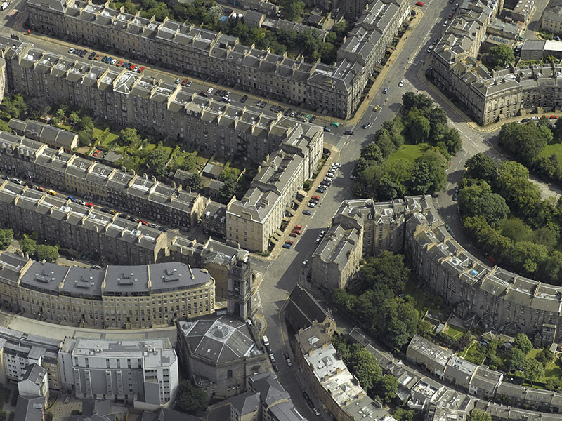 An aerial view of St Vincent's Street in Edinburgh