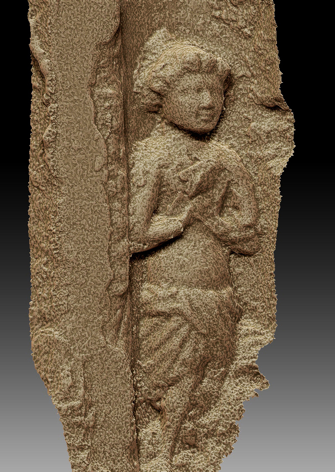 A 3D digital model of one of the figures in gold