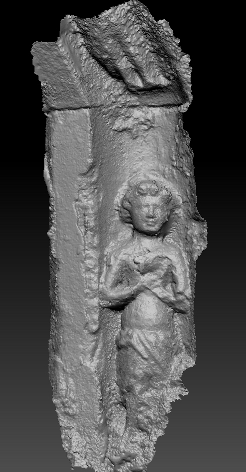 A 3D digital model of one of the figures in silver