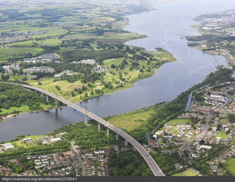 An aerial view of the Erskine Bridge