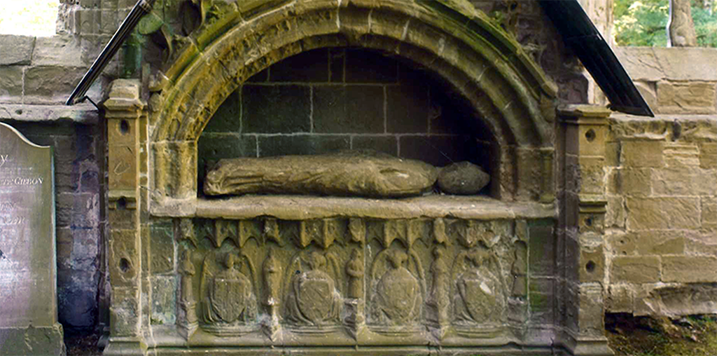 A close-up shot of Bishop Cardeny's tomb, Dunkeld Cathedral.