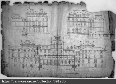 Archive image of the plans for the Craiglockhart campus building