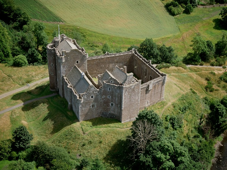 An aerial view of Doune Castle