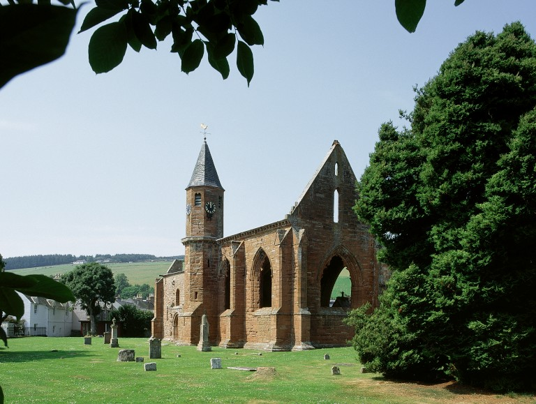 A view of Fortrose Cathedral flanked by green trees