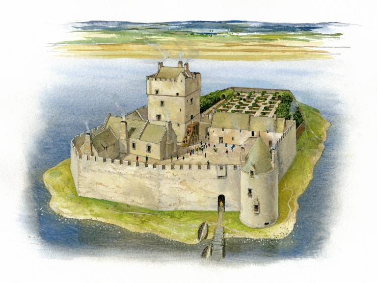 An artist's interpretation of Lochleven Castle. A central tower is surrounded by a courtyard and a large defensive wall. The castle sits on an island in a loch.