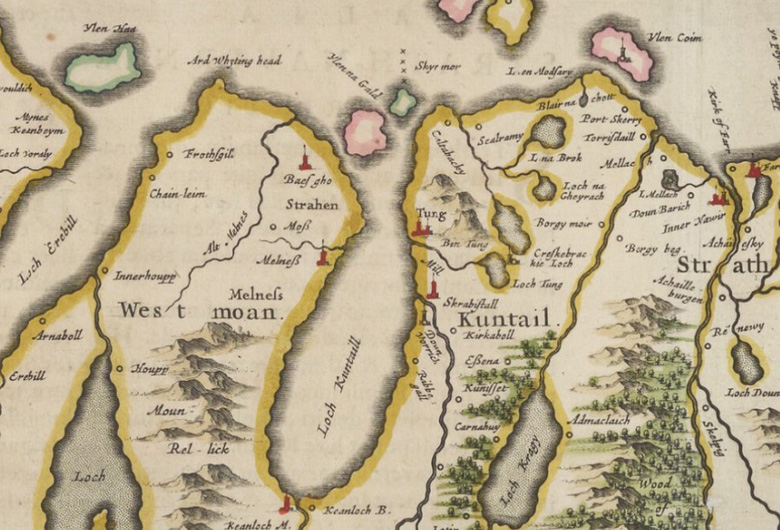 A close-up of a 17th century map of Scotland