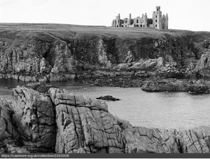 An archive image of New Slains Castle in its dramatic clifftop position