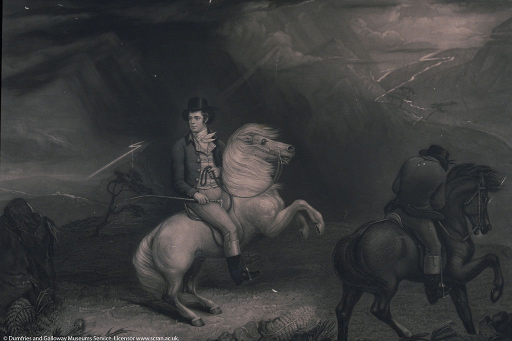 Engraving of Robert Burns riding a very small white pony
