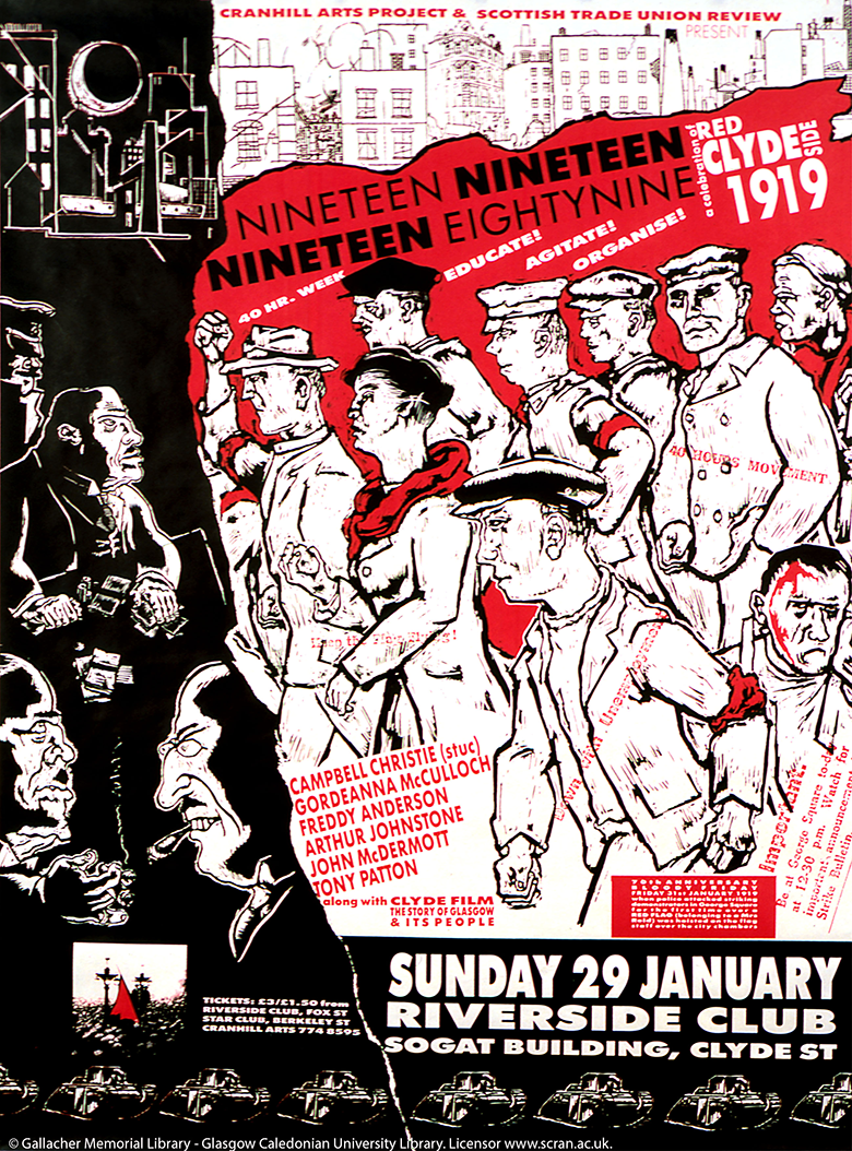 A poster advertising an evening of events to commemorate the 70th anniversary of 'Bloody Friday'. An artist's impression of men and women involved is shown alongside a list of speakers, prices etc.