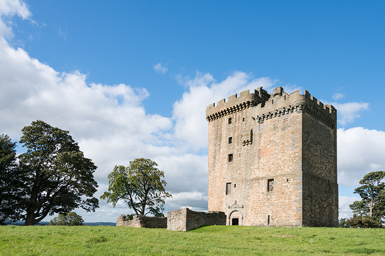 View of Clackmannan Tower on a bright day