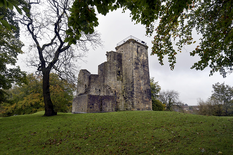 View of the medieval castle at Crookston