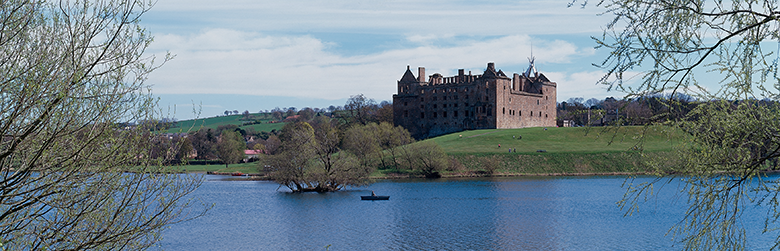 Linlithgow Palace as viewed from across Linlithgow Loch