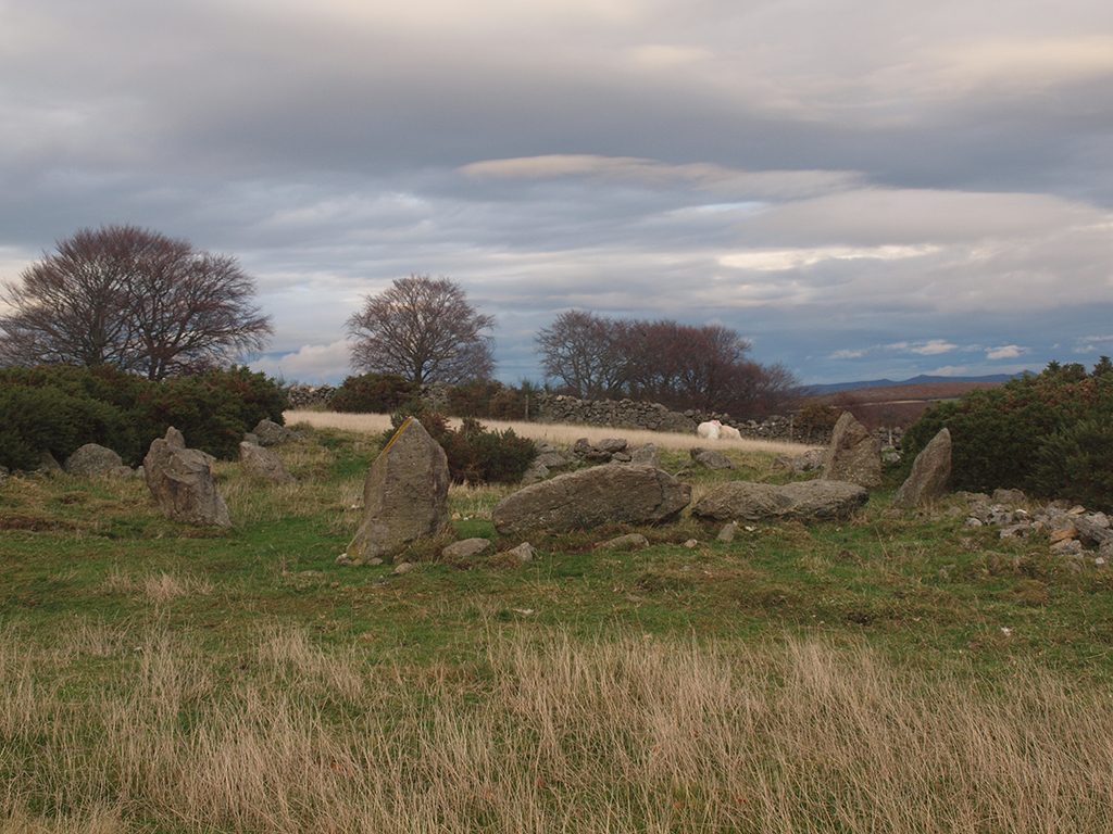 A view of a stone circle situated on exposed farmland