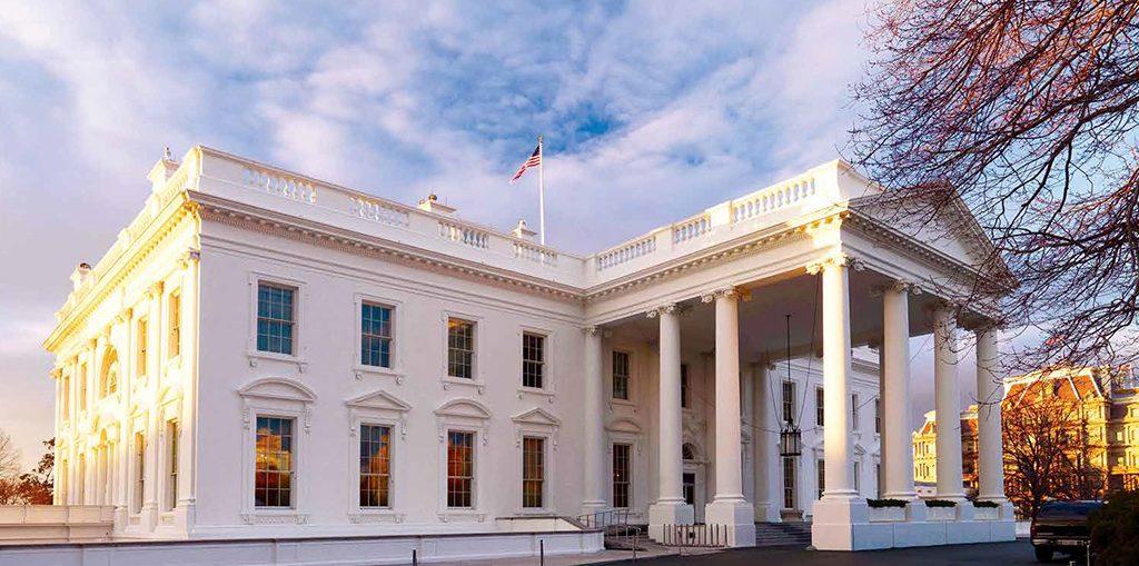An exterior view of the White House, Washington DC.