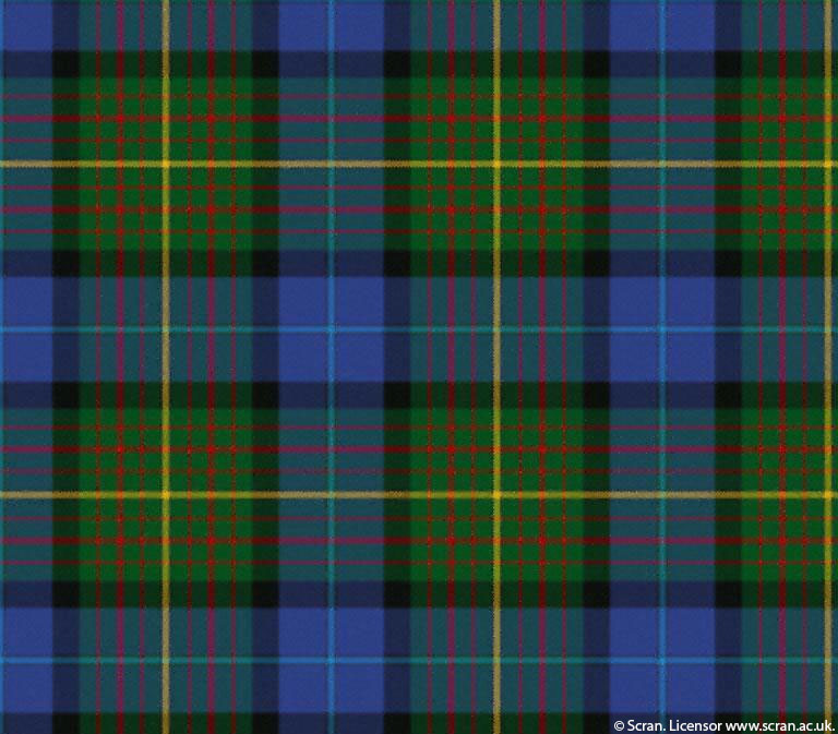 Detail of a tartan pattern featuring blue, green, yellow and red.