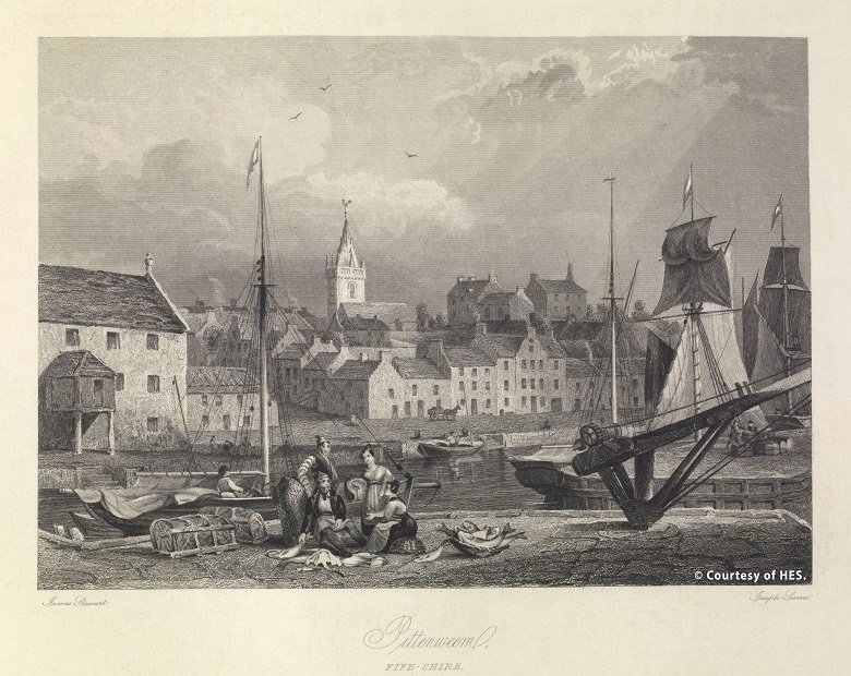 An engraving of Pittenweem harbour from 1840.