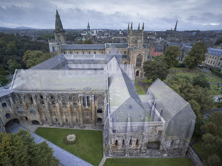 An aerial view of Dunfermline Abbey with lost parts of the building digitally added