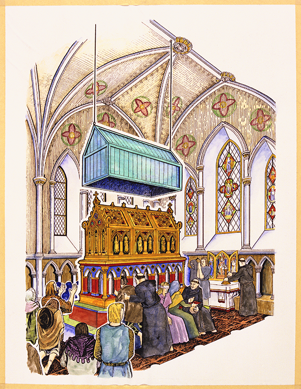 A colour drawing of the interior of a large church building,. An elaborate golden tomb is in front of the altar. Various pilgrims are praying in front of the monument, attended to by monks.