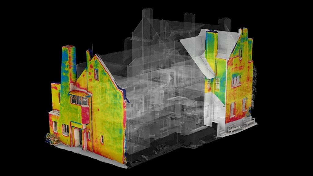 3D model of The Hill House with thermal mapping data overlaid; A. Frost 2018