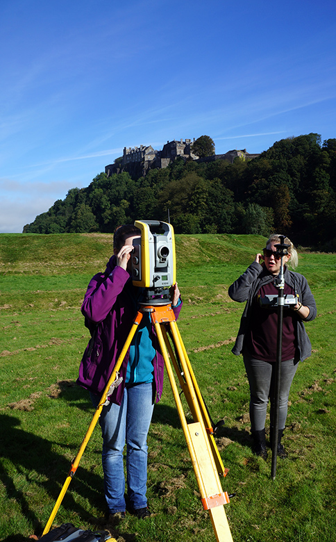Archaeologists at work in front of Stirling Castle