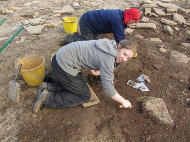 Rachel Pickering working at an archaeological dig