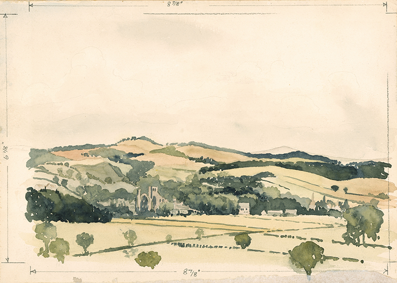 water colour landscape. Rolling hills and buildings with fields in the foreground