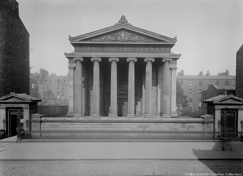 View of Surgeons' Hall - a building in the Greek Revival style