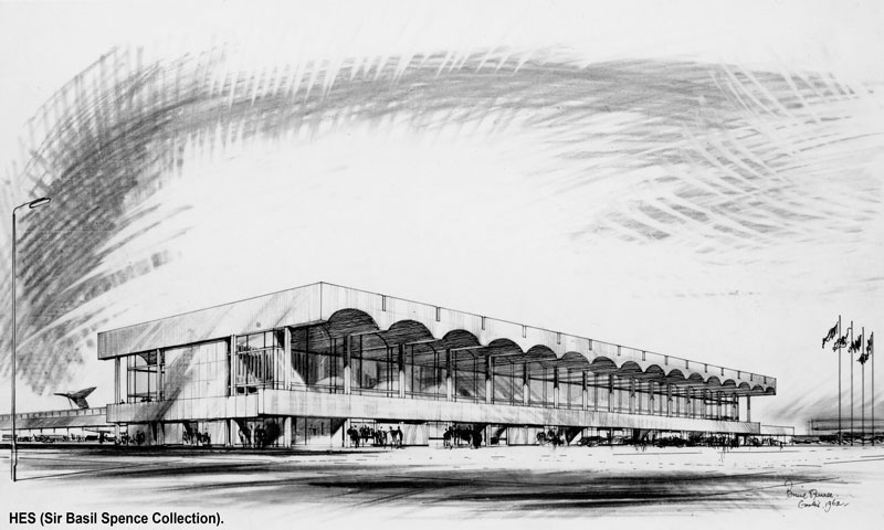 An drawing showing Basil Spence's design for a Glasgow Airport building