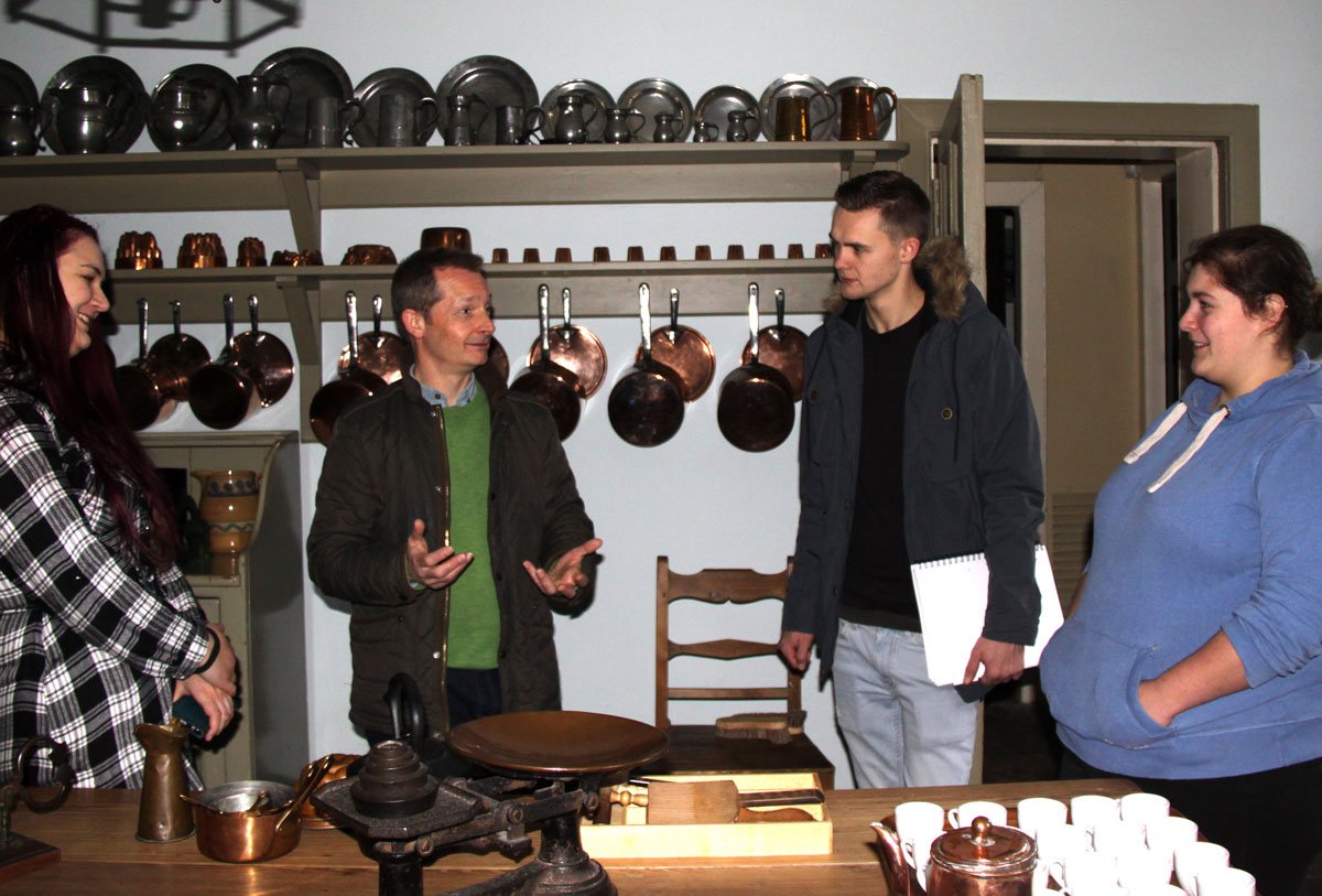 Students from Edinburgh College are given a tour around the kitchens of the Georgian House in Charlotte Square, Edinburgh.