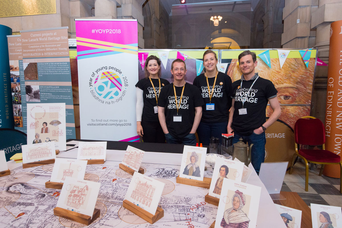 The HES World Heritage team launch 'Auld Reekie Through the Keyhole' at an event in Kelvingrove Museum.