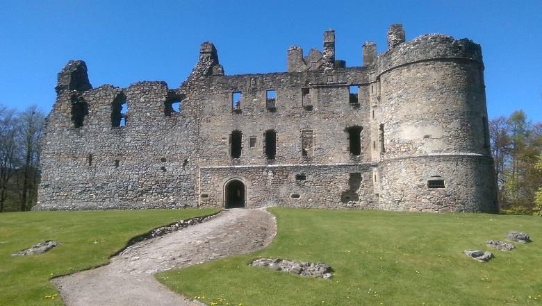 An exterior view of the imposing ruin of Balvenie Castle