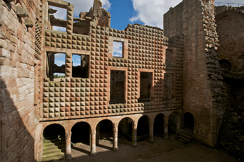 interior view of Crichton Castle showing an unusual diamond-faceted façade