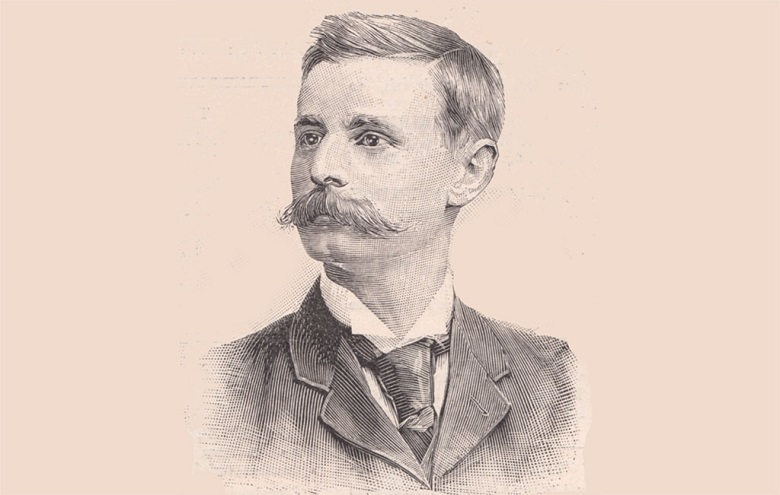 A drawing of a man with short hair and a large mustache wearing a suit and tie