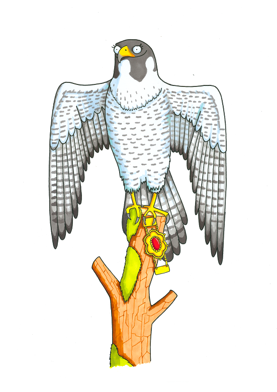 Cartoon of a falcon perched on a tree stump. It carries a gold and red antique-looking necklace.
