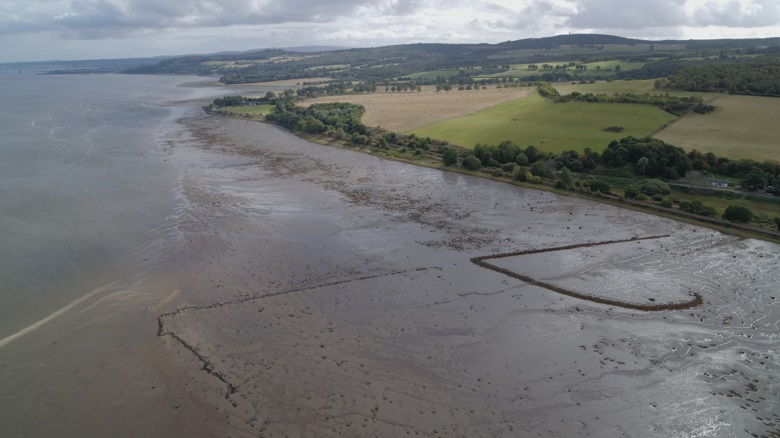 Aerial view of a rural coastline at low tide. Linear markings can be seen at the site of a former fish trap.