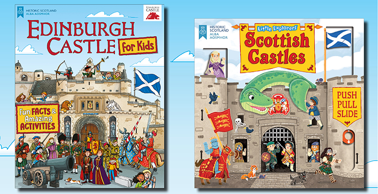The front covers of Edinburgh Castle for Kids and Little Explorers: Scottish Castles. Both feature an illustration of a castle with various colourful characters inside.