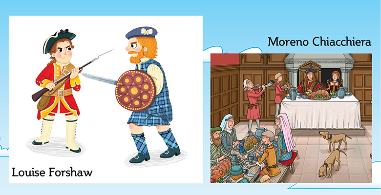 Illustrator samples of a Georgian-era soldier in red and yellow uniform, a kilted soldier with a sword and round shield and a banquet scene inside a Great Hall.