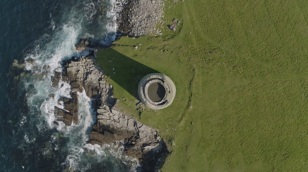 An aerial view of Mousa Broch showing its two walls, with a staircase between them